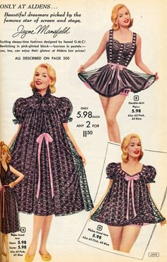 Vintage Lingerie Lingerie ad with Jayne Mansfield 1956 for Aldens Catalog - 1950s Style, Vintage Outfits, Vintage Dresses, Vintage Nightgown, Vintage Clothing, Lingerie Retro, 1950s Fashion, Vintage Fashion, Baby Doll Pajamas