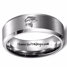 Laser etched engraved Largemouth Bass on a 8mm Width Band / Ring. Brushed Silver Finish. Available in sizes 8 - 13 whole sizes only. Tungsten Carbide Comfort Fit Band. Will never scratch, tarnish or f