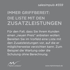 """#salesimpuls #359 - Haben Sie die Liste mit den Zusatzleistungen immer griffbereit - für den Fall, dass Sie Ihrem Kunden einen """"neuen Preis"""" anbieten wollen. www.martinlimbeck.de"""