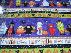 3 Yards Quilt Cotton Fabric - Northcott Happy Halloween Character Stripe Purple #Northcott