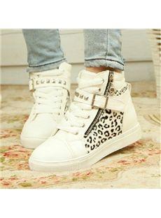 Cool Leopard Print Rivets Sneakers - Shoespie.com
