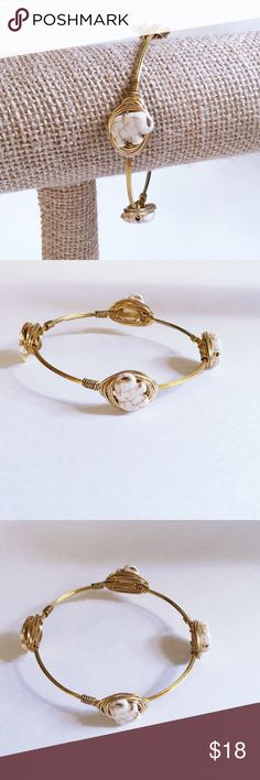 """FLASH SALE! Elephant bangle BRAND NEW! Handmade with white howlite elephant beads. (They are carved from natural stone, so slight color variations will occur.)  Gold colored wire. Tarnish resistant.  Diameter is 2.75 inches across.   Price firm unless bundled. Please use """"Add to Bundle"""" feature for bundle discount. Sydney Elle Jewelry Bracelets"""