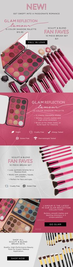Fall in love with our NEW L'amour Palette + Our hot pink Fan Faves Brush Set!