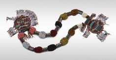 Yoruba Southwest Nigeria Diviner's Necklace (Odigba Ifa) Late 19th/early 20th century Glass beads, cloth, and leather