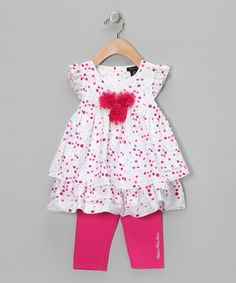 Take a look at this Pink Polka Dot Tunic & Capri Leggings - Infant, Toddler & Girls by Calvin Klein on #zulily today!