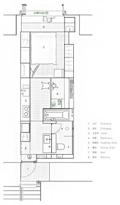House Plans Under 50 Square Meters: 26 More Helpful Examples of Small-Scale Living,Cortesía de Atelier Mearc Small Apartment Plans, Apartment Floor Plans, Apartment Layout, Small House Plans, House Floor Plans, Nook Architects, Archdaily Mexico, Small Room Interior, Small Appartment