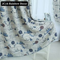 Mediterranean Style Children's Sailing Blackout Curtains For Living Room Boys Kids Bedroom Cloth Cortina Full Shading Fabrics Curtains Childrens Room, Kids Room Curtains, Kids Bedroom Boys, Boy Room, Rainbow Decorations, Mediterranean Style, Fabric Shades, Blackout Curtains