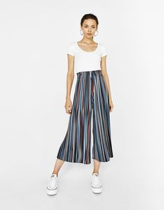 Plisowane spodnie culotte