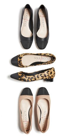 Classic & sophisticated ballet flats with mini block heels. Available in black leather, leopard print & nude suede. | Sole Society Brea