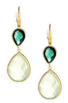 Hydro & Prehnite Double Teardrop Drop Earrings