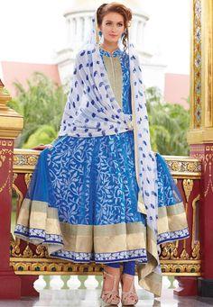 Blue Net Anarkali Churidar Kameez