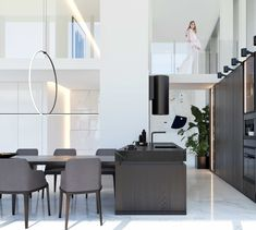 penthouse interior design Office Desk, Minimalism, Kitchen Design, Divider, Dining, Interior Design, Room, Furniture, Home Decor