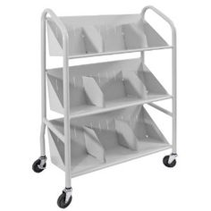 Buddy Products Sloped Two-Shelf Book Cart, Steel, 14.25 x 26 x 26, Silver (5413-3)
