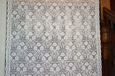 """Antique Design White Cotton Lace Curtain Panelling per Metre- Width 140cms - 56"""" #FrenchCountry"""
