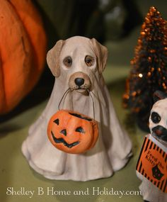 Shelley B Home and Holiday - Ghost Dog Trick or Treat Figure Bethany Lowe, $14.50 (http://shelleybhomeandholiday.com/ghost-dog-trick-or-treat-figure-bethany-lowe/)