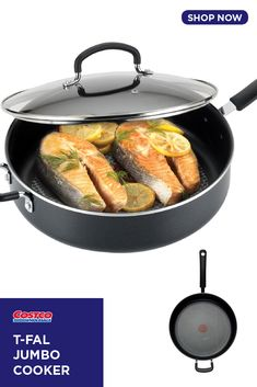 T-fal Jumbo Cooker with Lid Hard Titanium Reinforced Nonstick InteriorThermo-Spot Heat IndicatorRiveted Silicone Handles Dishwasher Safe Functional Kitchen, Cooker, Seal, Surface, Base, Foods, Unique, Food Food