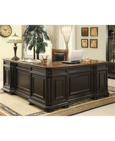 Riverside Furniture Allegro L-Shaped Executive Desk and Return @ Home Furniture Home Office Desks, Home Office Furniture, Home, Home Office Design, Home Office Decor, Riverside Furniture, Furniture, Law Office Decor, Office Interiors