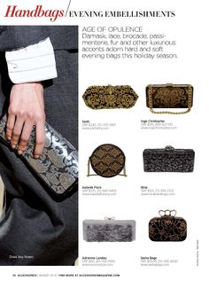 Accessories Magazine August 2013 | Handbags: Evening Embellishments feat. Fall 2013 Inge Christopher NOTO Minaudiere in Black Gold