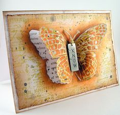 Gorgeous Distressed Butterfly Creation by Suzz for the Simon Says Stamp Monday challenge Blog. March 2014