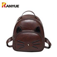 5b83ccdb30 New Fashion Women  font  b Backpack  b   font   font  b High  b   font  Quality  PU Leather  font  b Backpack  b   font   font  b Cute  b   font  Cat ...