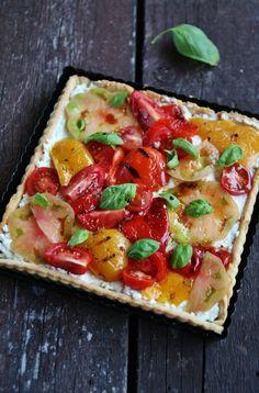 Tarte à la ricotta, tomates et poivrons