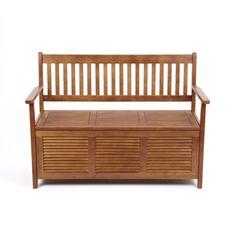 outdoor garden patio solid wooden hardwood 2 seat seater storage bench furniture - Garden Sheds B Q