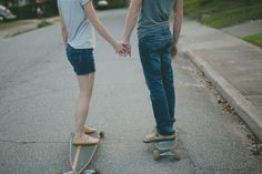 couple skateboarding, by katie purnell