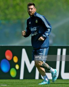 Argentina's forward Lionel Messi runs during a training session in Ezeiza, Buenos Aires on October 7, 2017 ahead of a 2018 FIFA World Cup South American qualifier football match against Ecuador to be held in Quito on October 10. / #lioneltrains