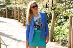 All blue toned outfit: Warehouse lace skirt, Edies Eyes blazer, Gina Tricot skull t-shirt and H statement necklace