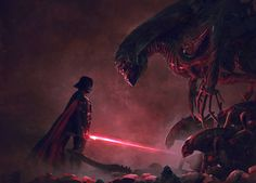 Conceptual artist Guillem H. Pongiluppi has created an epic fan art series  for Star Wars and Aliens. The illustrations feature Darth Vader and his  Stormtroopers battling a horde of xenomorphs. There's even one of Vader  coming face to face with the Alien Queen. This is some impressively badass  art, and you can see more of the artist's work here.   Via: UFunk
