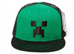 Minecraft Creeper Face Premium Snap Back Hat Green/Black One Size @ niftywarehouse.com