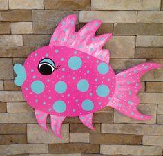 Hand Painted Fish Door Hanger by KJsKutOuts on Etsy https://www.etsy.com/listing/238967185/hand-painted-fish-door-hanger