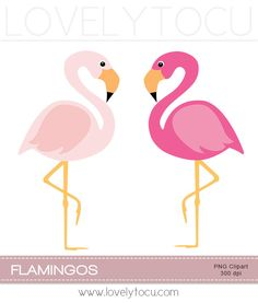 Pink flamingo clipart, a pair of pink birds digital PNG clip art (30). $3.50, via Etsy.