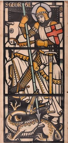 "Twentieth Century British Art by Francis Spear: ""St. George and the Dragon, 28th October, Gouache, Paper Art, Stained Glass, Modern Art, Religion, Dragon, Window, Ink"