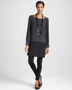 This is how an adult woman can wear leggings appropriately. -423T Eileen Fisher Silk Colorblock Tunic & Jersey Leggings, Women's