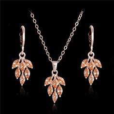 H:HYDE Fashion Jewelry Sets For Women Gold Color CZ Grape Jewelry Pendant Neckalce Earrings Wedding Fashion Jewelry set