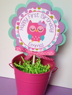 Owl Birthday Party Personalized Circle Smash Cake Topper Pink