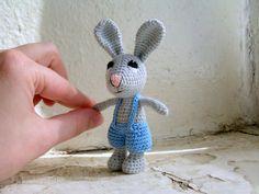 Small bunny crochet rabbit charm crochet by ecowickerwork on Etsy