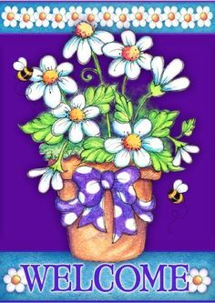 Toland Home Garden 112089 Daisy Welcome Garden Flag by Toland Home Garden. $9.99. Heat sublimated to permanently dye fabric. 12-1/2 by 18-inch. Licensed art. 600 denier polyester. Machine washable; UV, mildew, and fade resistant. This Daisy Welcome Garden Flag will make a statement hanging from your front porch or in your garden this season. This vibrant, floral flag by artist Laurie Furnell is sure to brighten up your day this spring. The Daisy Welcome flag fe...