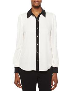 TAKJY Diane von Furstenberg Mariah Contrast-Trim Silk Blouse, White/Black