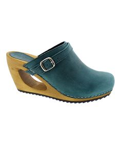 Look at this Turquoise Wood & Leather Clog - Women on #zulily today!