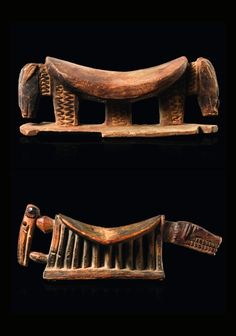 Africa | 2 headrests from the Dogon/Tellem people of Mali | Wood, with remains of black pigment