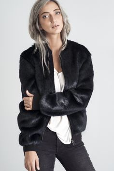 Marcel Faux Fur Bomber Jacket. Deep Navy Color. MONX BRAND BOMBERS