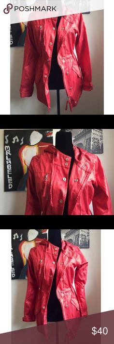 ISDA & Co Red Hooded Jacket Size Small/ Material 52% cotton & 42% polyester & 6% nylon. MASTER PIECE ISDA & CO Jackets & Coats Utility Jackets