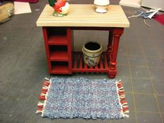 Dollhouse Miniature Furniture - Tutorials | 1 inch minis: 1 Inch Scale Rag Rug Tutorial - How to make a 1 inch scale rag rug on a beading loom.