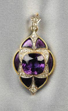 Edwardian 18kt Gold, Amethyst, Enamel, and Diamond Pendant, Marcus & Co.