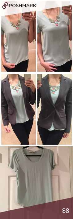💚 Mint Green Shirt 💚 Ann Taylor Loft Mint Green Shirt 💚 Worn once, still in great condition. Front has a silky over layer. Great piece to transition from work to going out. Grey blazer are also for sale. Ask me about bundling these items together to save $! LOFT Tops Blouses