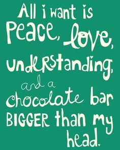 Peace Love Chocolate in teal green 8x10 by pennywishes on Etsy