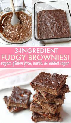 Fudgy Brownies (gluten-free, vegan, paleo) - Simply Taralynn - Banana Brownie Home Low Sugar Recipes, Sugar Free Desserts, Baking Recipes, Coconut Flour Desserts, Sugar Free Baking, Jelly Recipes, Baking Desserts, Flour Recipes, Paleo Dessert