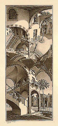 mc esher -- Up and Down 1947 Lithograph in brown